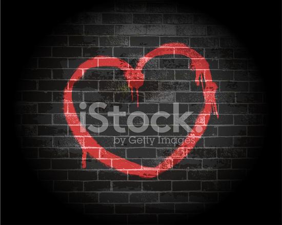 Sprey Boya Kalp Tuğla Duvar Stock Vector Freeimagescom
