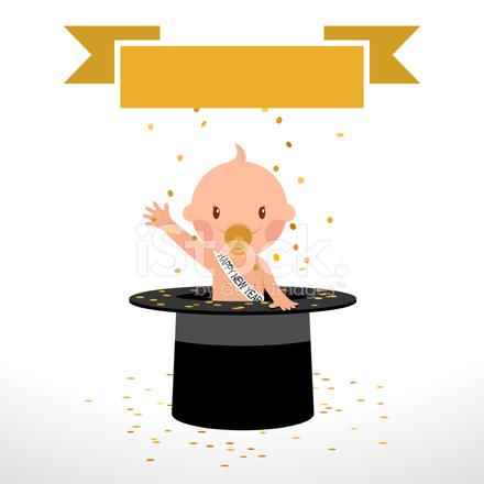 happy new year newborn tophat baby illustration vector party