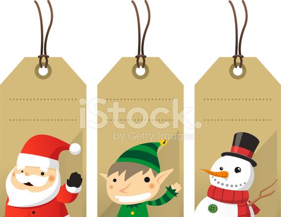 Christmas Character Label Tags Santa Elf Snowman stock photos ...