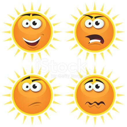 Dibujos Animados Sol Iconos Emociones Stock Vector Freeimagescom