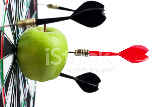 Dart Hit Green Apple In The Target Center Stock Photos Freeimages Com