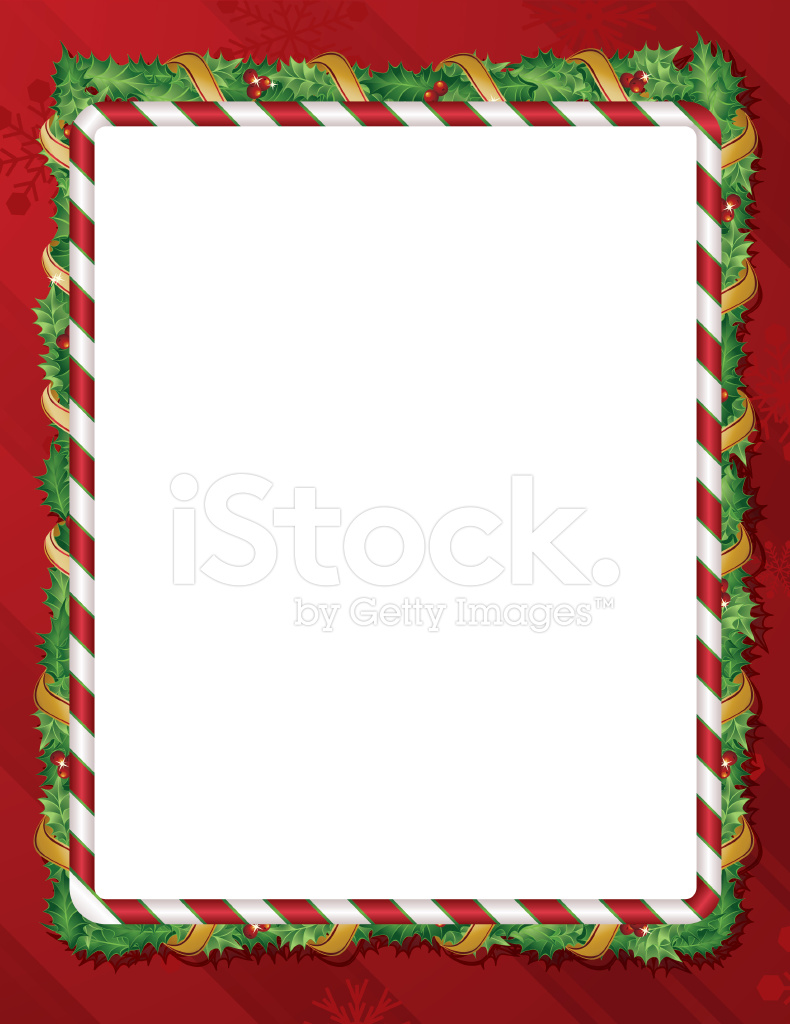 Holiday Candy Cane Holly Background Frame Stock Vector - FreeImages.com
