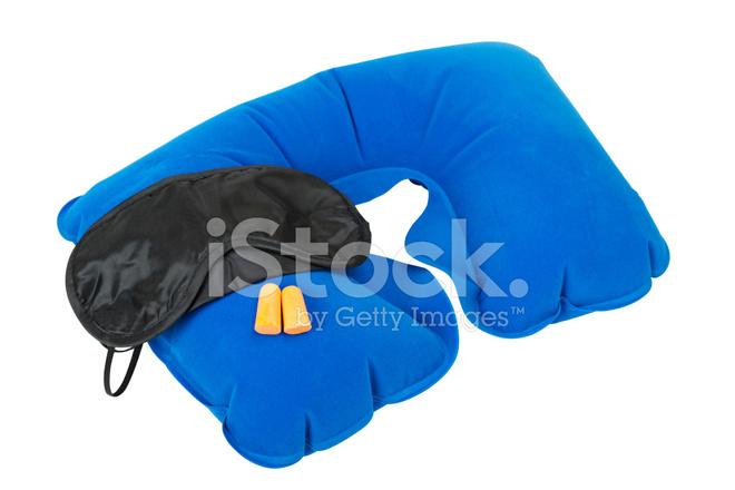 Uppblasbar Nackkudde Sova Mask Och Oronproppar Stockfoton