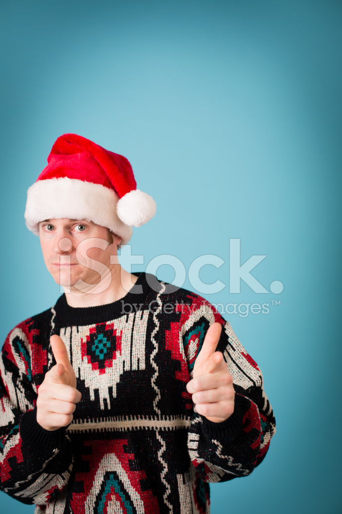 man thinks hes cool wearing santa hat and ugly sweater - He Man Christmas Sweater