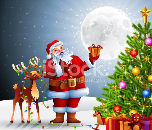 premium stock photo of santa claus and rudolph with christmas tree - Santa Claus Tree