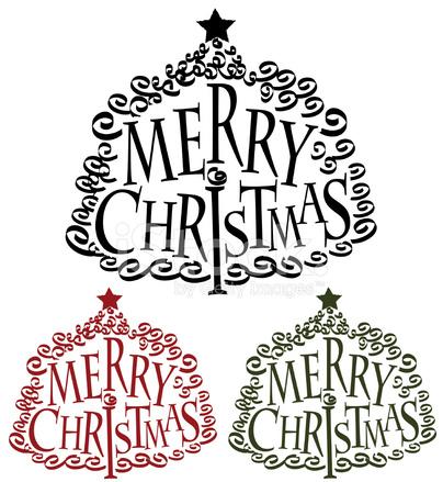 Frohe Weihnachten Baum Wort Design Stock Vector - FreeImages.com