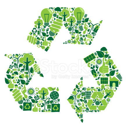 Recycle Montage With Green Recycling Symbols Stock Vector
