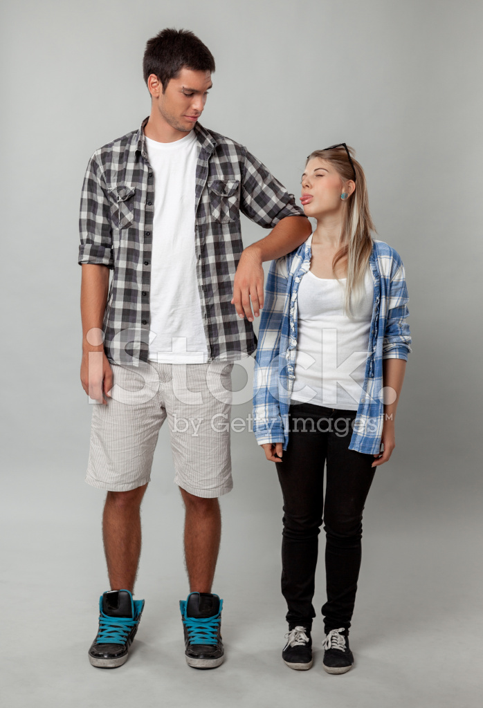 Tall and short friends stock photos freeimages