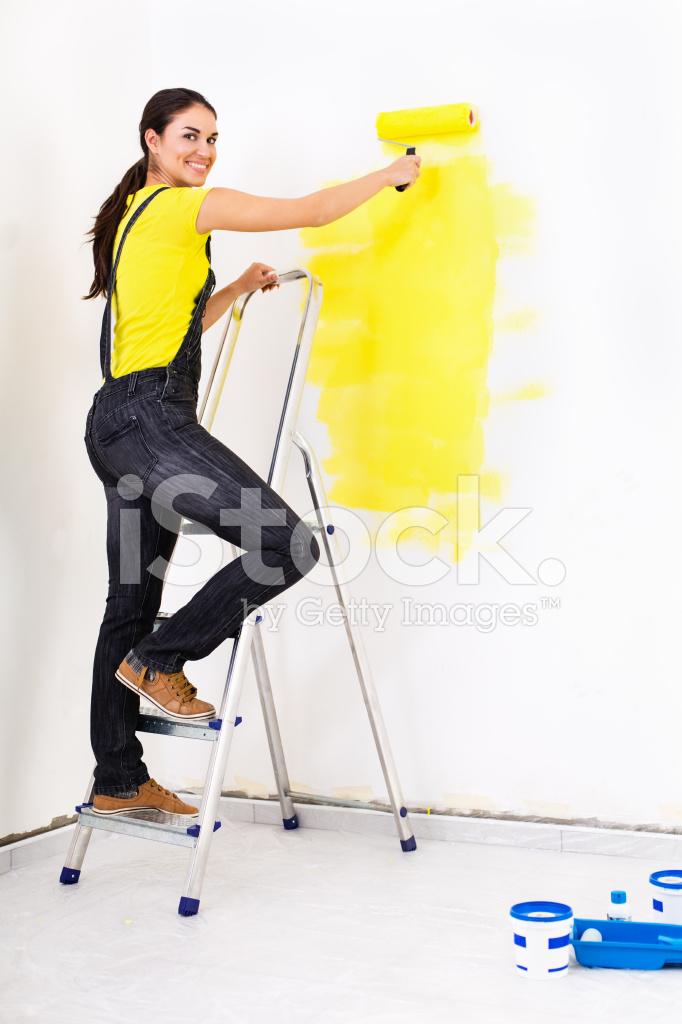 Kadın Boyama Duvar Stok Fotoğrafları Freeimagescom