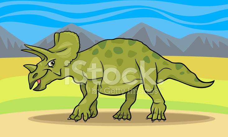 Dinozor Triceratops Karikatür çizimi Stock Vector Freeimagescom