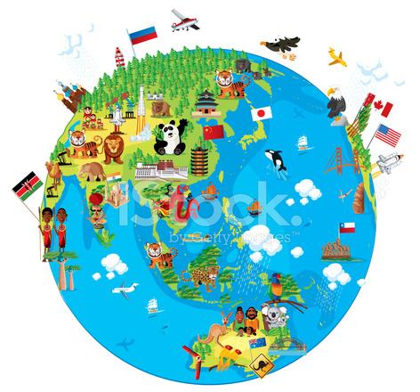Mapa DE Dibujos Animados Del Mundo asia fotografas de stock