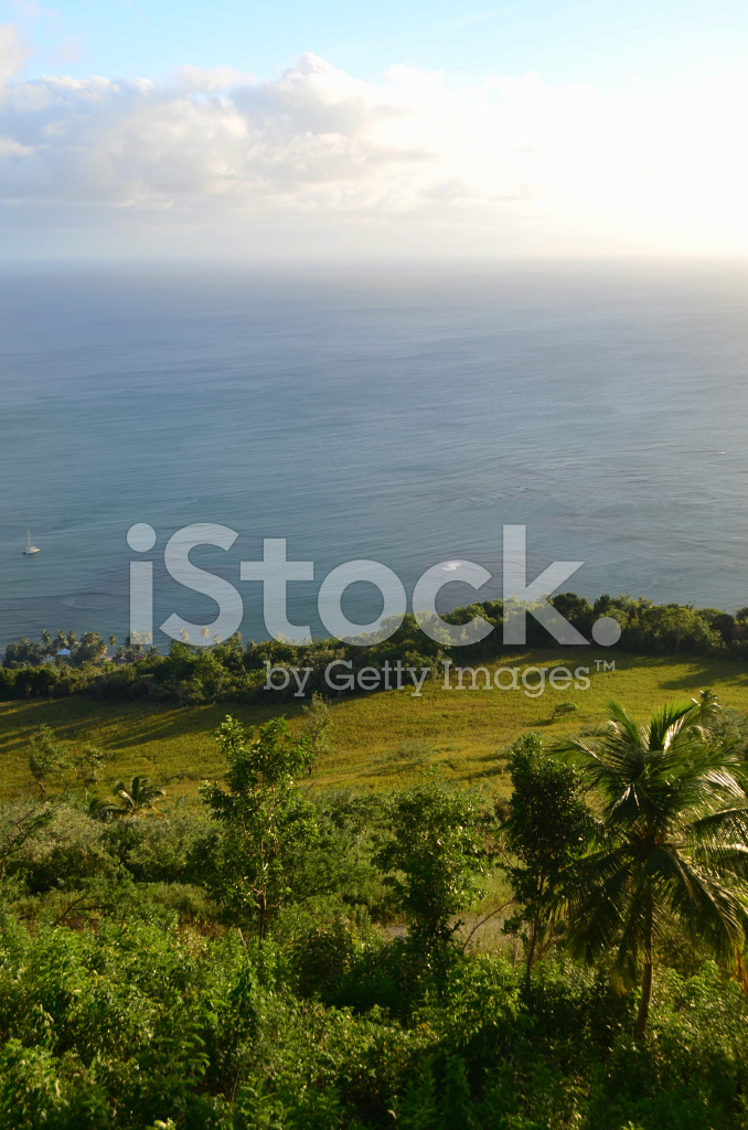 Caribbean Sea and Lush Green Landscape stock photos ...