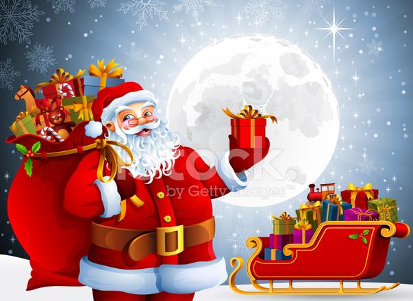Babbo Natale Con Sacco Pieno Di Regali Stock immagine vettoriale