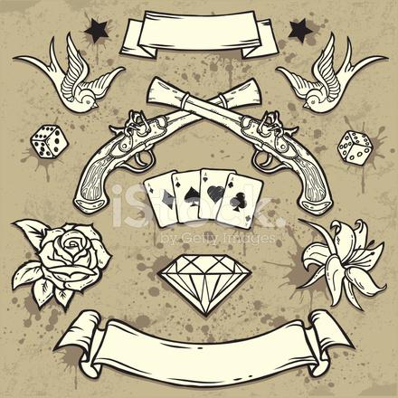 Set von Old School Tattoo Elemente Stock-Vektorgrafik (Lizenzfrei) 532885261