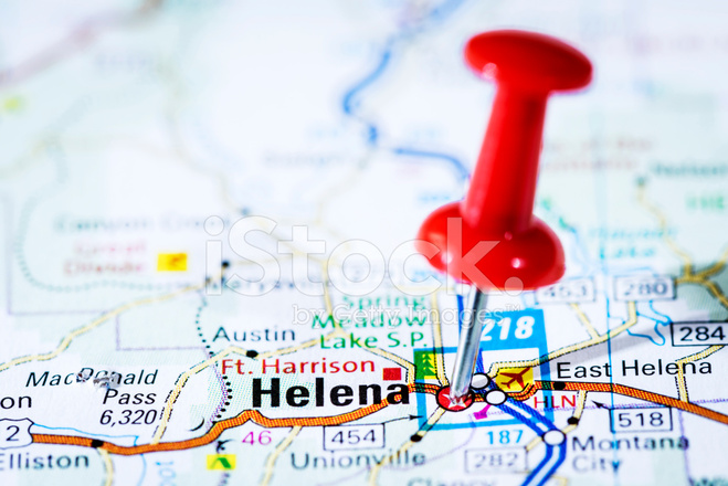 US Capital Cities on Map Series: Helena, Montana, MT Stock Photos ...