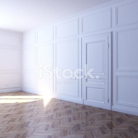 새로운 화이트 룸과 쪽모이 세공 마루 바닥 (투시도) 스톡 사진 ...