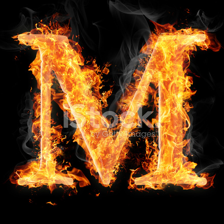 Fonts And Symbols In Fire Letter M Stock Photos
