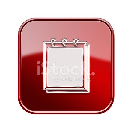 871396f9cbd Notebook Symbol Glänzend Rot, Isoliert Auf Weißem Hintergrund Stock ...