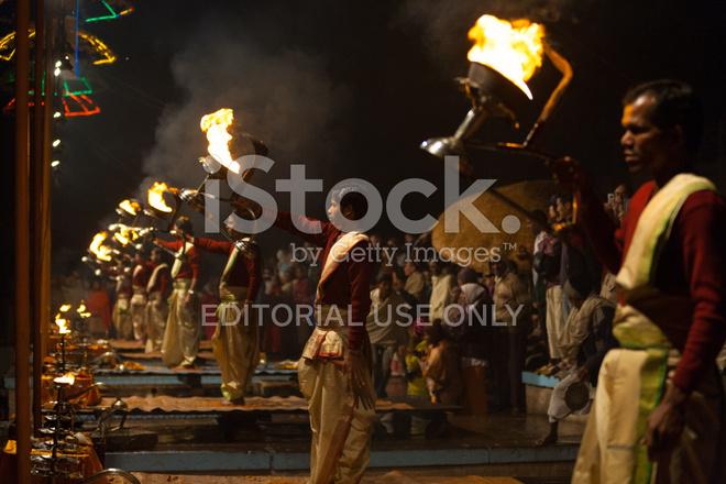 fire lantern hindu priest pooja prayers varanasi stock