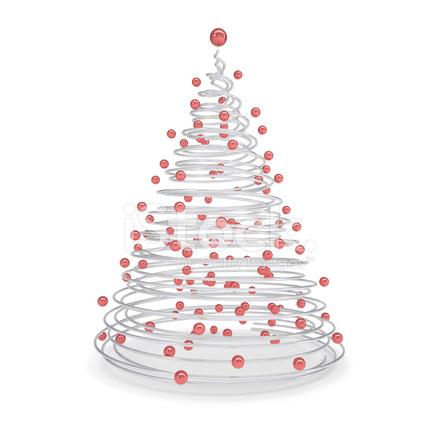 Weihnachtsbaum Metall Spirale.Weihnachtsbaum Hergestellt Aus Metall Spiralen Und Rote Kugeln