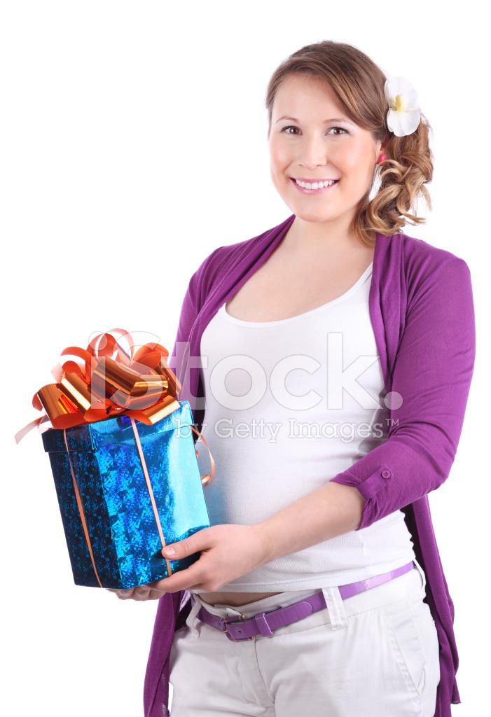 Zwangere Vrouw Houdt Doos Met Cadeau Stockfotos