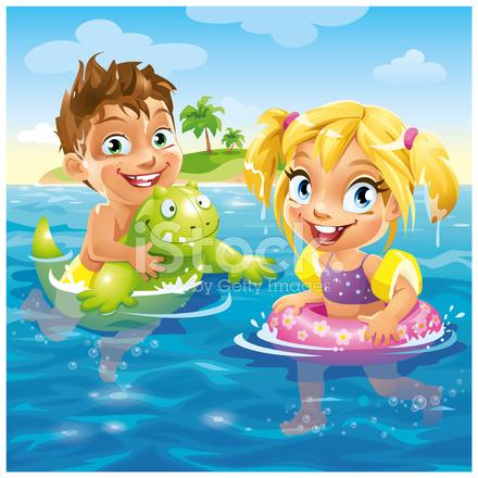 Lindo Niños De Dibujos Animados Felices Divirtiéndose En La Playa