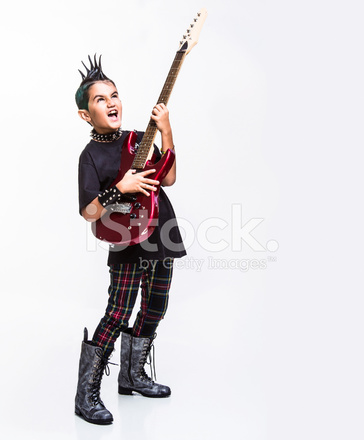 punk kid playing an electric guitar stock photos. Black Bedroom Furniture Sets. Home Design Ideas