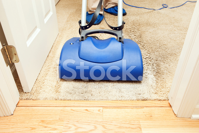 Carpet Cleaning With Brush Encapsulation Machine Stock