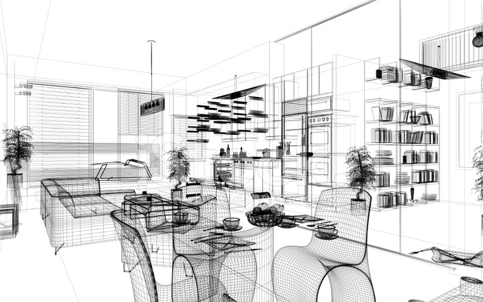 Wireframe 3d Modern Home Render Architecture Ab Stock Photos