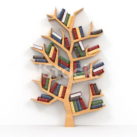 Books on tree shaped bookshelf on white background stock for Tree of life bookshelf