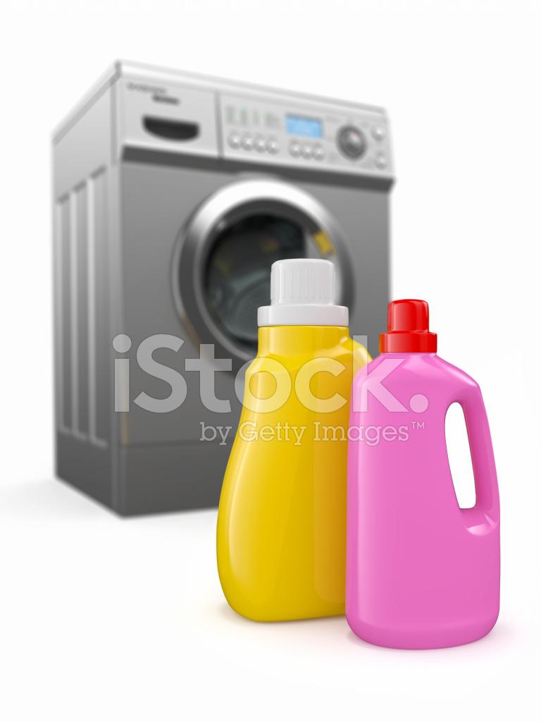 Washing Machine And Detergent Bottles Stock Photos