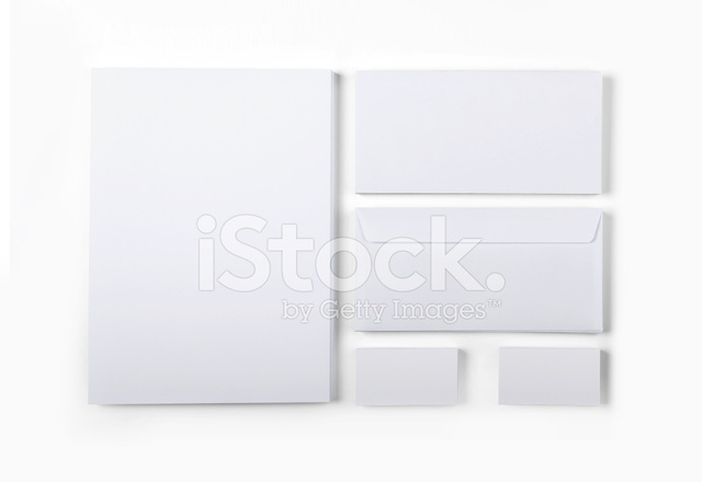 Leere Umschläge Visitenkarten Und A4 Stapel Isoliert