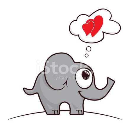 Elefante DE Dibujos Animados En El Amor fotografas de stock