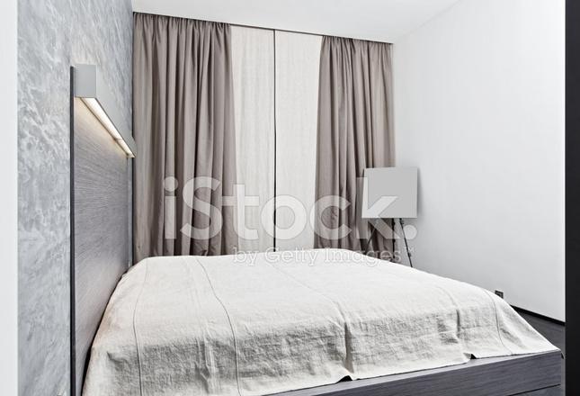 Slaapkamer interieur in moderne minimalisme stijl in zwart wit