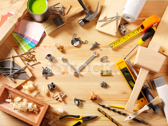 Frame Of Work Tools And Equipment With Diy Clock Face Stock Photos