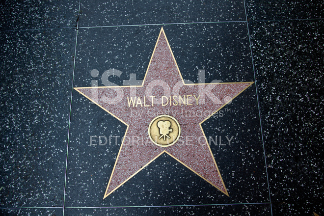 hollywood walk of fame star walt disney stock photos