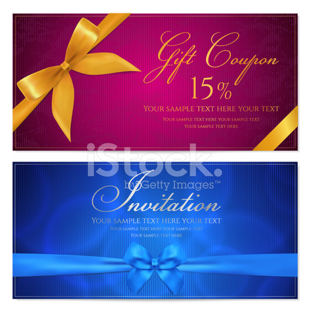 Gift Voucher Coupon Template With Blue And Gold Bow Ribbons