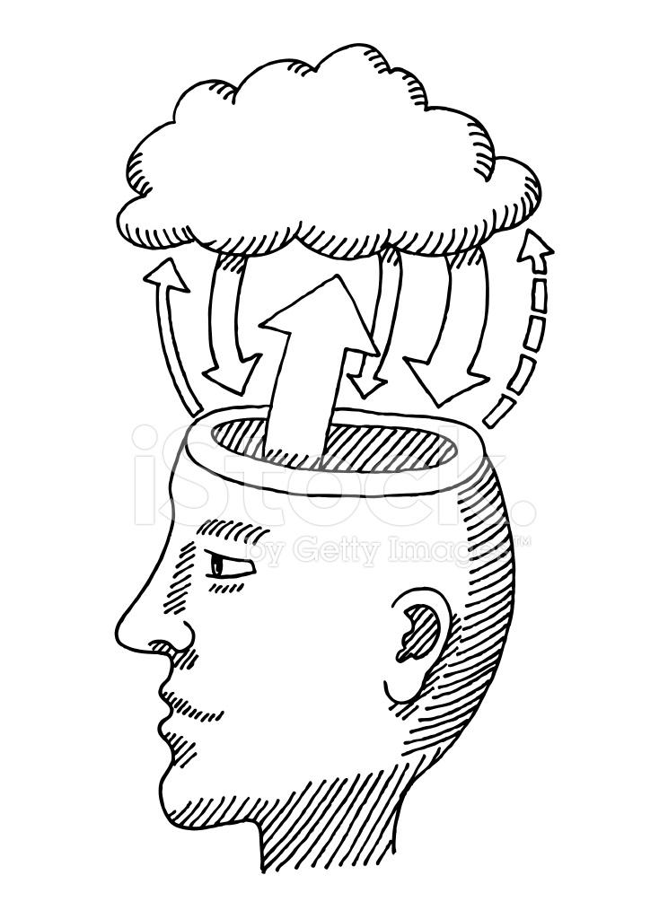 head brain cloud information exchange drawing stock vector