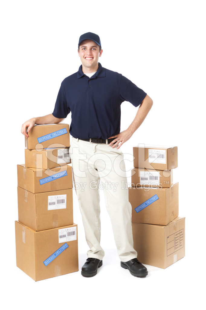 happy package delivery man on white background stock photos