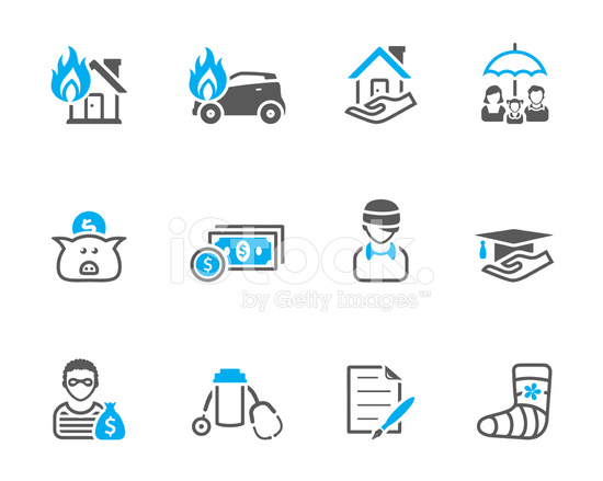 duo tone icons insurance stock vector