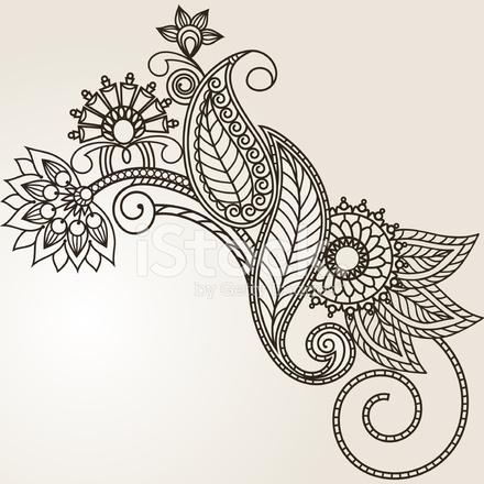 handgezeichnete abstrakte henna mehndi blumen und paisley. Black Bedroom Furniture Sets. Home Design Ideas