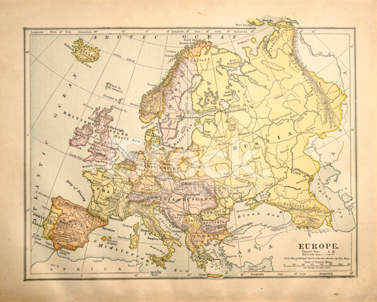 Victorian Vintage Map Of Europe Stock Photos FreeImagescom - Victorian world map