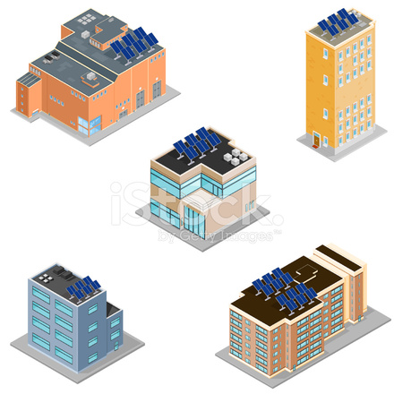 Isometric Buildings With Solar Panels Stock Vector
