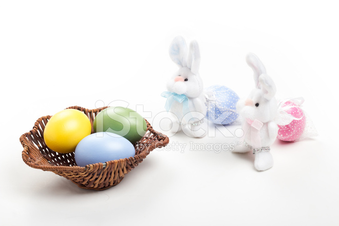 Premium Stock Photo Of Two Easter Bunnys Carrying Eggs