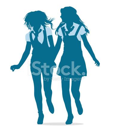 silhuetas de meninas adolescentes correndo juntos stock vector