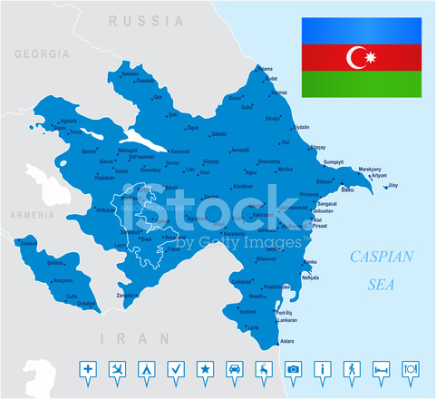 Map Of Azerbaijan States Cities Flag Navigation Icons Stock Vector Freeimages Com