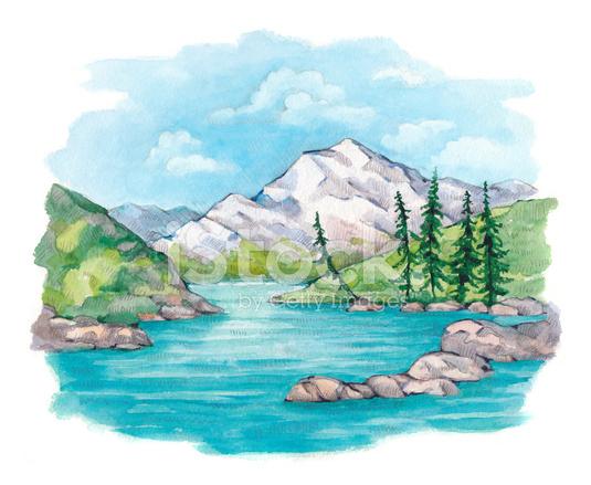 Watercolor Landscape Stock Vector Freeimages Com