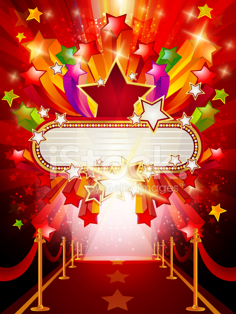 Marquee Banner With Red Carpet Background Stock Photos