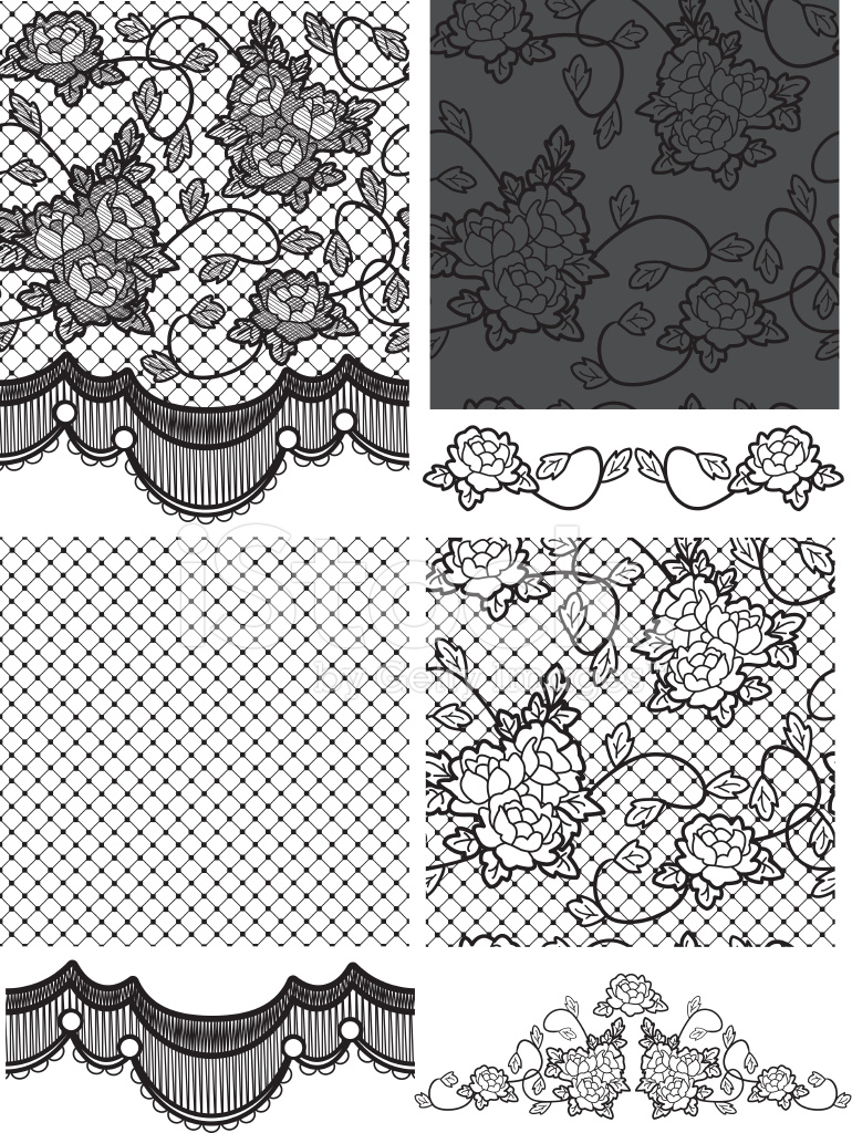 gothic style lace vector floral seamless stock vector