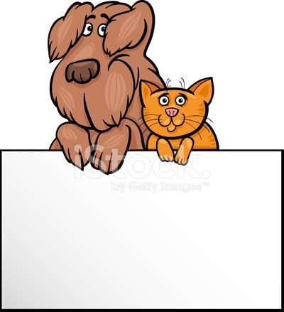 c8229dc60ea66 Perro Y Gato Con Diseño DE Dibujos Animados DE Tarjeta Stock Vector ...
